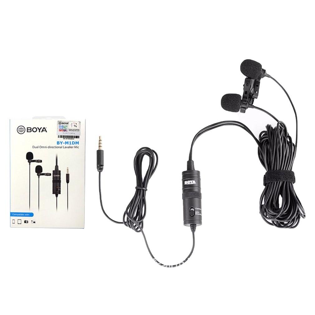 BOYA BY-M1DM BY-M1 микрофон с 6 м кабель переменного тока с двумя головками петличный зажим для цифровых зеркальных фотокамер Canon Nikon iPhone видеокамеры...