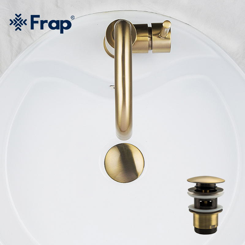 Frap Brass Bath Basin Overflow Hole Sink Tap Push Button Pop Up Waste Plug Slotted Kitchen Sinks Drains F60-4/f60-8 High Quality And Low Overhead