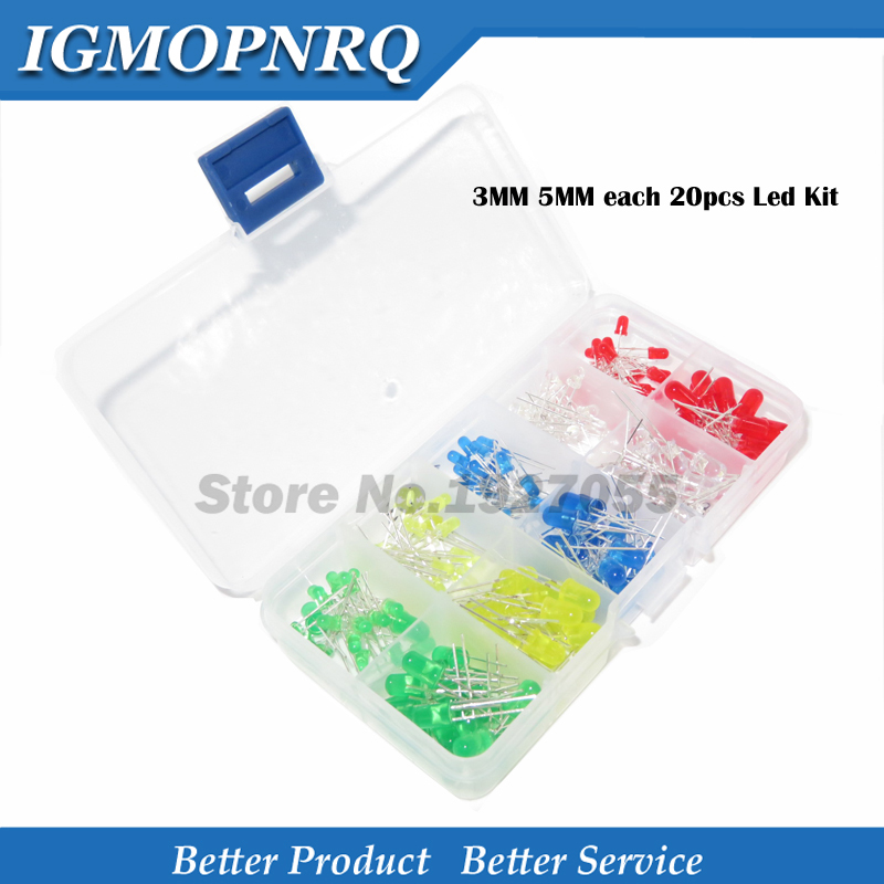 200PC 3MM <font><b>5MM</b></font> each 20pcs <font><b>Led</b></font> Kit Mixed Color Red Green Yellow Blue White Light Emitting Diode Assortment with free Box image