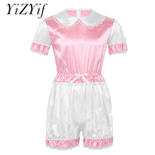 Gay Men Sissy Panties Romper Silky Satin Doll Collar Short Puff Sleeves Trimmed Lace Romper Adult Baby Cross Dresser Costume