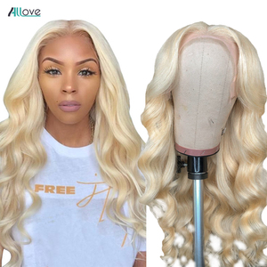 Allove 30 Inch 613 Lace Front Wig Peruvian Body Wave Wig Blonde Lace Front Human Hair Wigs For Women Middle Part Lace Part Wig