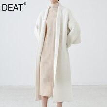 DEAT Chaqueta de punto con cuello de manga larga para otoño, cárdigan holgado elegante, abrigo de lana, Color sólido, tipo bufanda de abrigo, AT259, 2020