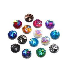50Pcs/Lot 8mm Round Resin Rhinestone Fish Scale Cabochons Gems For DIY Jewelry Making Bracelet Findings Accessories Supplies