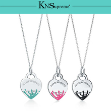 Bulgaria  Jewelry pendant set necklace Original 100% 925 Sterling Silver Green pink red Women High-end Quality Gift LOGO