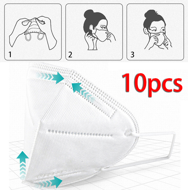10Pcs Mouth Mask Protection Covers Windproof Dustproof Anti-fog Haze Pollution Mouth-muffle Anti-Viruses Bacteria Proof Flu Mask 2