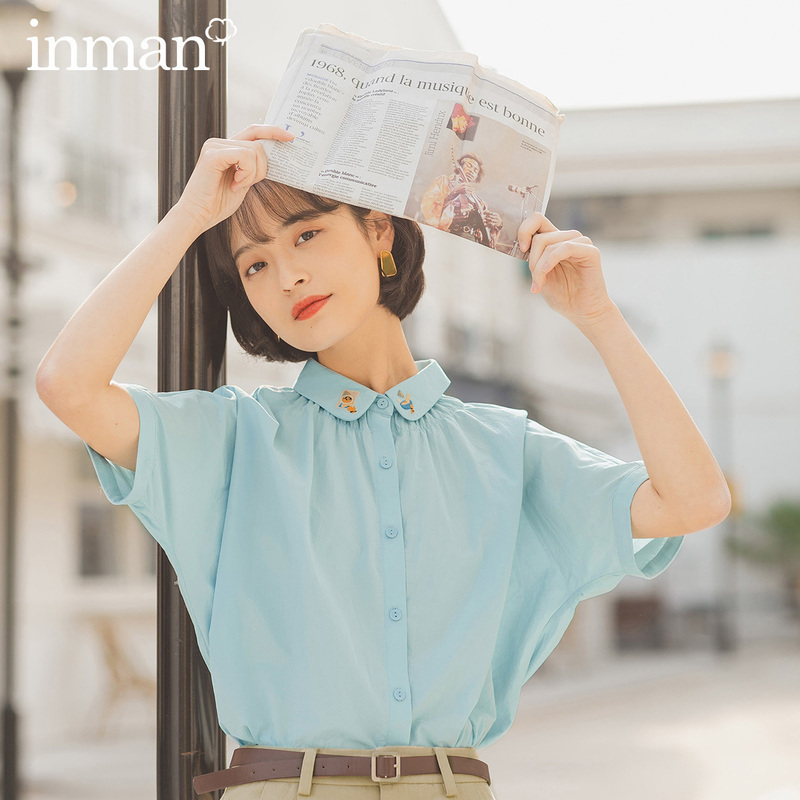 INMAN 2020 Summer New Arriavl Pure Cotton Lapel Cute Embroidered Loose Short Sleeve Blouse