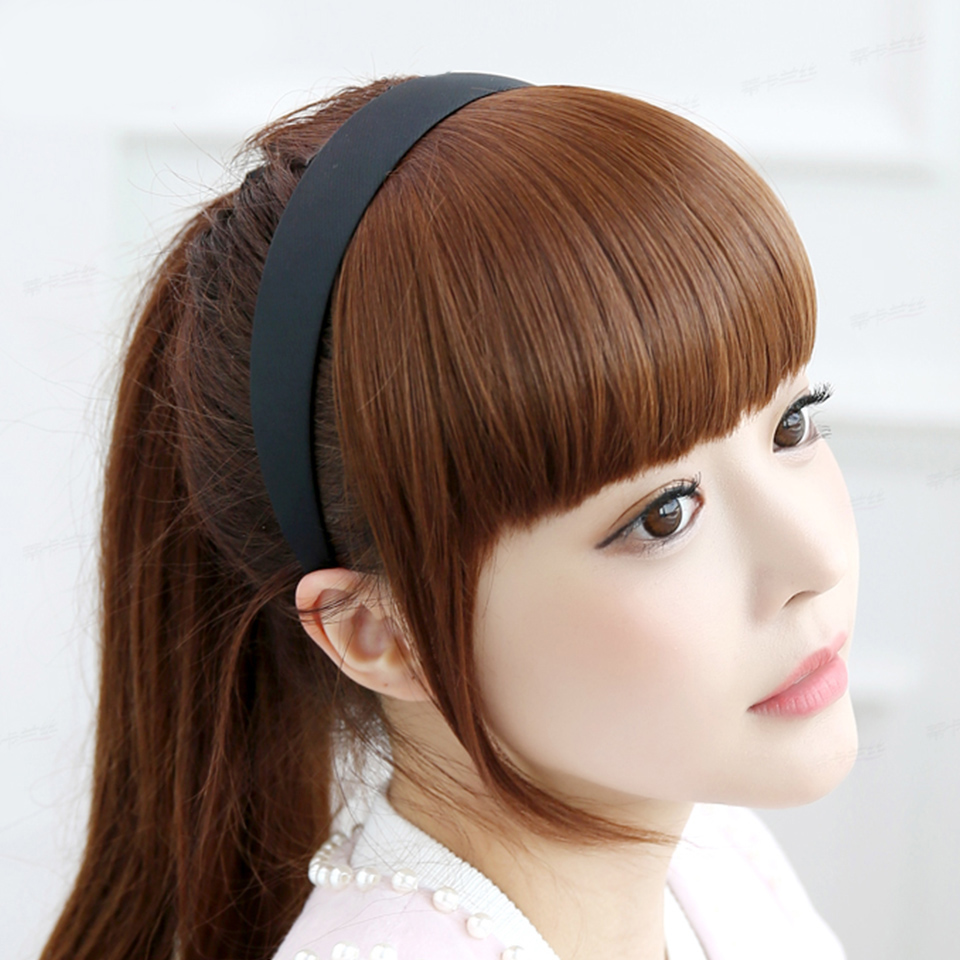 MEIFAN Clip In Fringe Blunt Bangs With Headband High Temperatur Fiber Synthetic Straight Hair Pieces Bangs Extensions For Women