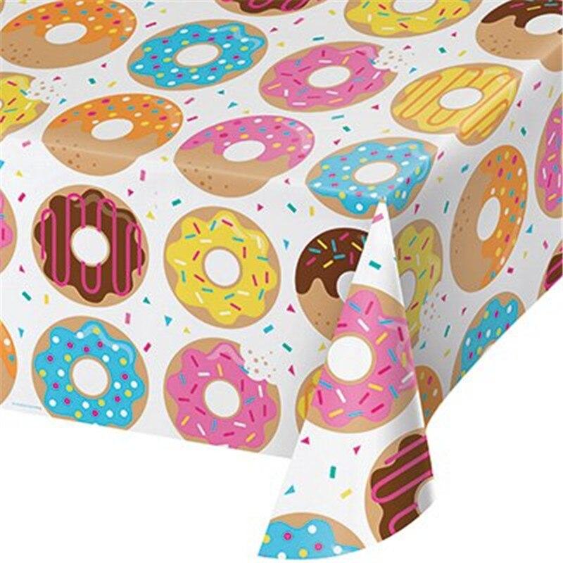 WPGJM Пончик Набор одноразовой посуды пончик 1-й День рождения одноразовая скатерть пончик вырасти торт Топпер/шары Baby Shower