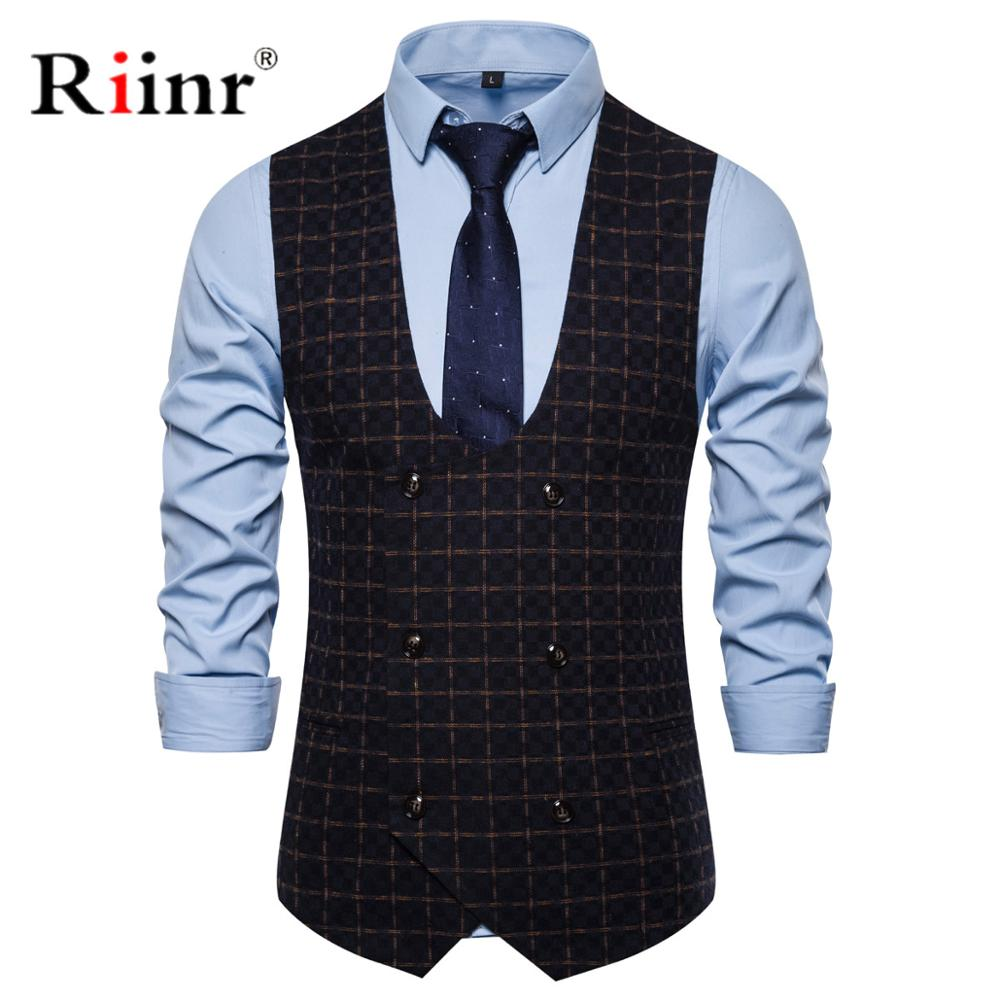 Riinr Casual Double Breasted Vest Men U Neck Black Wedding Male Dress Vests Mens Suit Costume Gilet Homme Chalecos Para Hombre