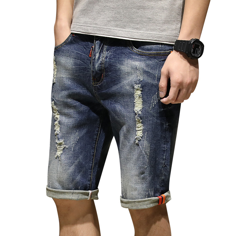 Summer With Holes MEN'S Jeans Shorts Male Fifth Pants Men's Breeches Elasticity Straight-Cut 5 Summer Buff Shorts