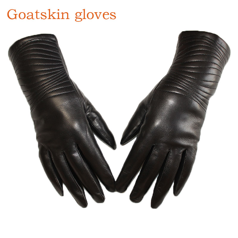 Leather Gloves Female High Quality Goatskin Thin Wool Line Lining Spring And Autumn Warm Women's Business Driving Gloves