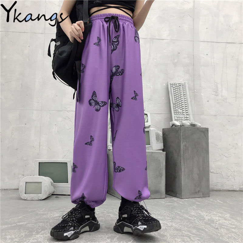 Women's Pants Harajuku High Waist Streetwear Butterfly Print Pants Baggy Pants Hip Hop Purple Trousers Women Casual Loose Pants