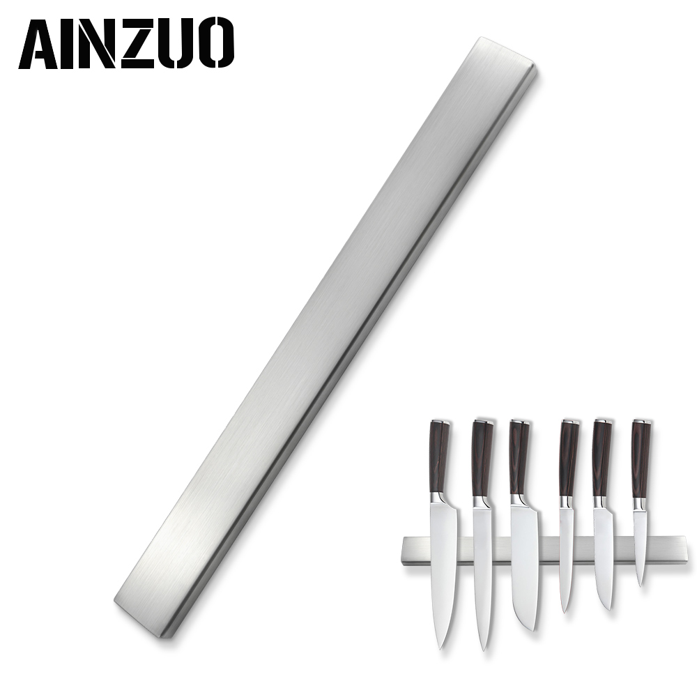 AINZUO Strong Magnetic Knives Holder Self-adhesive 45CM Length Stainless Steel Block Magnet Knife Stand For Kitchen Knives