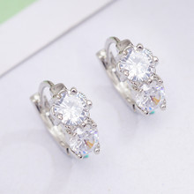 Girl Student Round Circle Earrings for Women Small Girl Hoop Earrings Clear CZ Crystal Girlfriend Gift Earring(China)