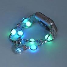 Lerxiuer Luminous agate strap For Apple watch band 44mm 40mm iwatch 42mm 38mm pearl wrist bracelet belt for apple 5
