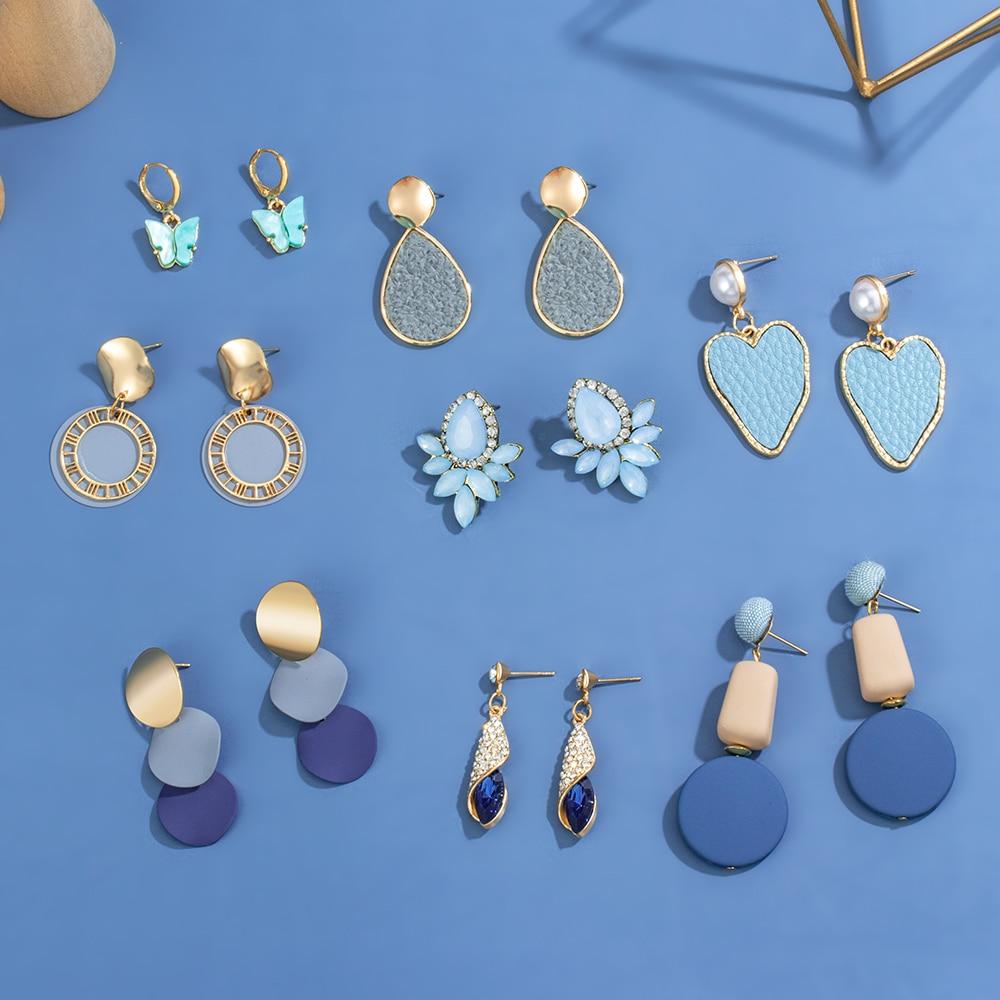 VCORM nouveau coréen acrylique coeur boucles d'oreilles pour les femmes Vintage déclaration bleu rond géométrique suspendus boucles d'oreilles 2020 bijoux