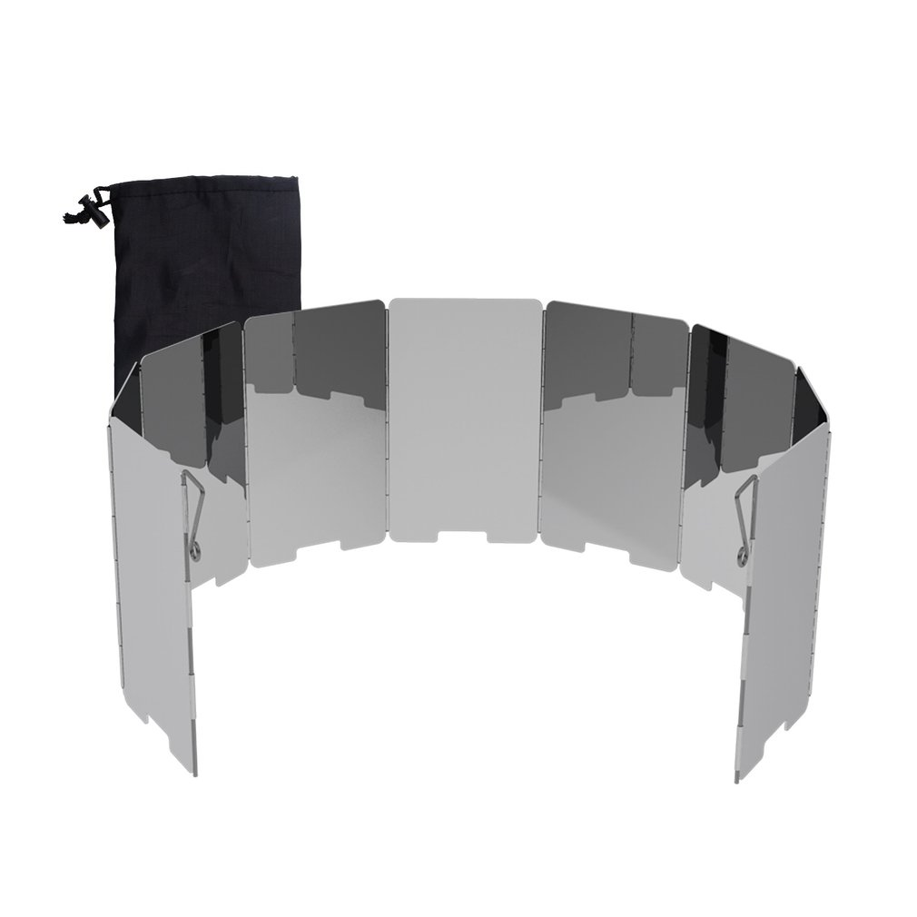 9-plates Foldable Camping Stove Wind Shield Screen Cookout Picnic Windbreak