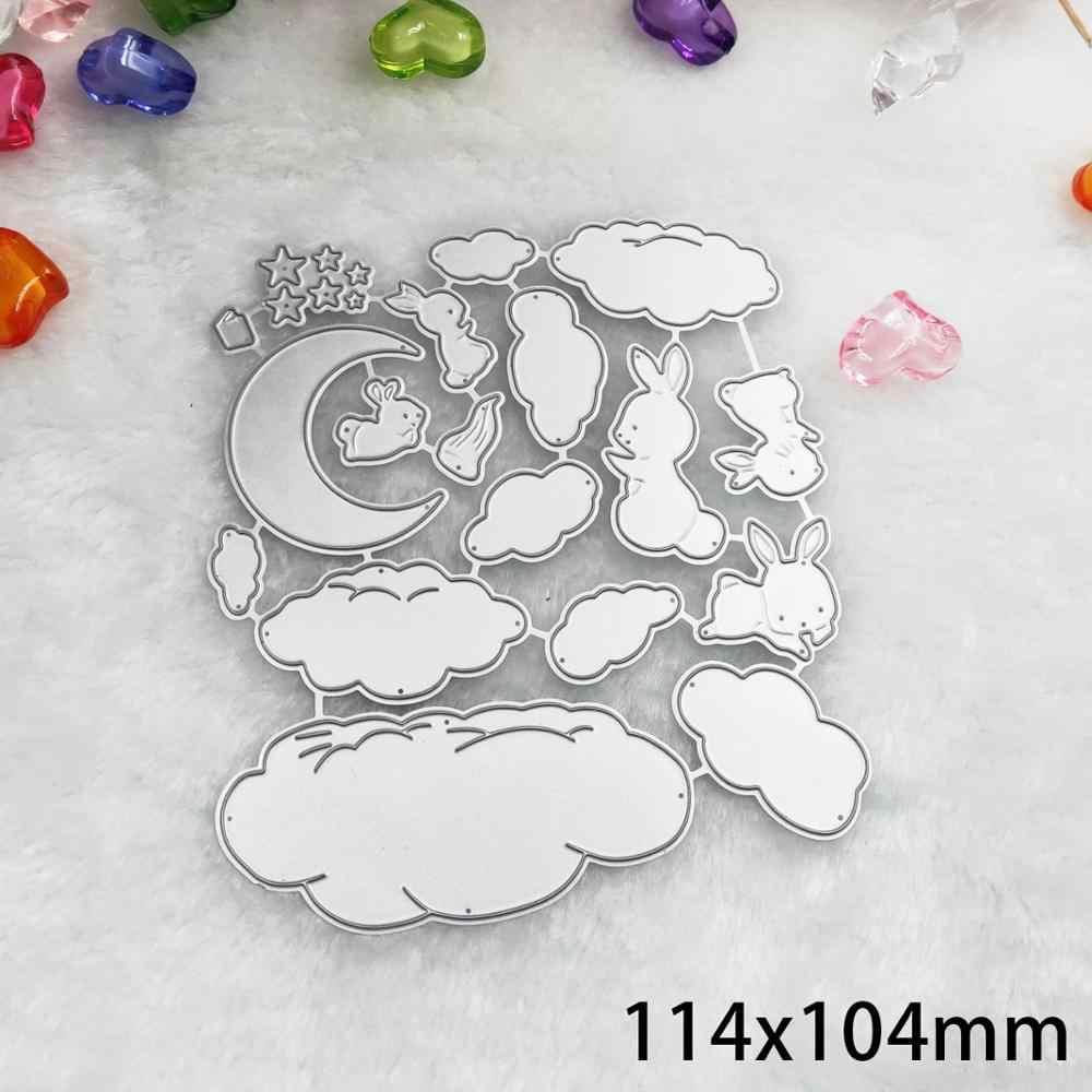 Cloud Moon, conejo, troqueles de Metal, plantilla de muñecos de animales en relieve, DIY, troqueles para álbum de recortes