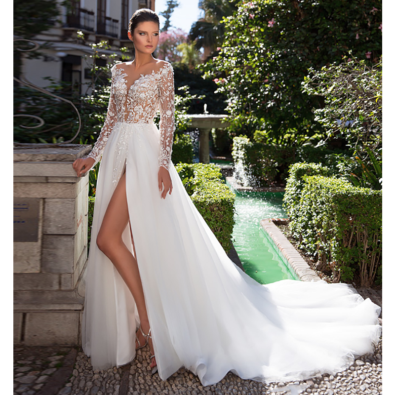 Verngo A-Line Wedding Dress Lace Appliques Tulle Bride Dress Long Sleeves Wedding Gowns Romantic White/ Ivory Robe De Mariée
