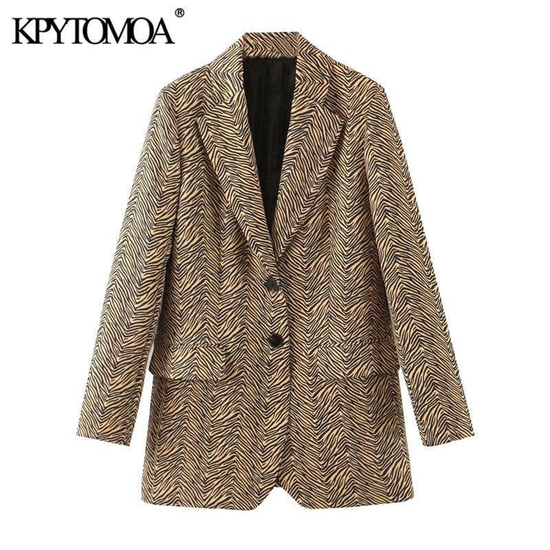 KPYTOMOA Women 2020 Fashion Office Wear Animal Print Blazers Coat Vintage Long Sleeve Pockets Loose Female Outerwear Chic Tops