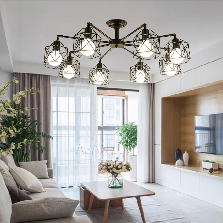 He195dd1cf2cc418bbf8a1526d7cfc97bd Modern Black Chandelier Lighting American Iron Cage Ceiling Lamp Light Fixtures Kitchen luminiare Bedroom Living Room Home Light
