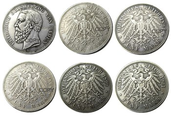 Germany German Bavaria coin 5 mark silver A SET OF (1891-1901)5PCS Otto Silver Plated Copy Coins image