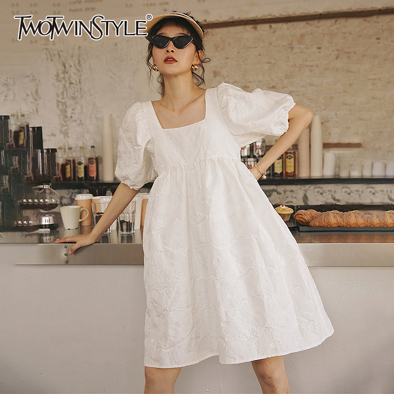 TWOTWINSTYLE Elegant Women Dress Square Collar Puff Half Sleeve High Waist Oversized White A Line Dresses Women 2020 Spring Tide