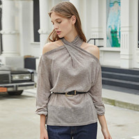 TVVOVVIN Off Shoulder Top Sexy Slim Knitted Top Women Clothes 2019 Hollow Out Pullover Cross Match All Sweater Autumn New D385