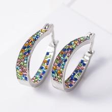 Fashion Hoop Earrings With Rhinestone Circle Earrings Simple Earrings Big Circle Gold Color Loop Earrings For Women 2020 цена 2017