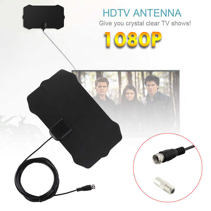 استقبال 50 ميل المدى التلفزيون الرقمي HD 4K HDTV هوائي F ميناء/التلفزيون ميناء مكبر للصوت 1080p جدا رقيقة الجوي إشارة داخلي
