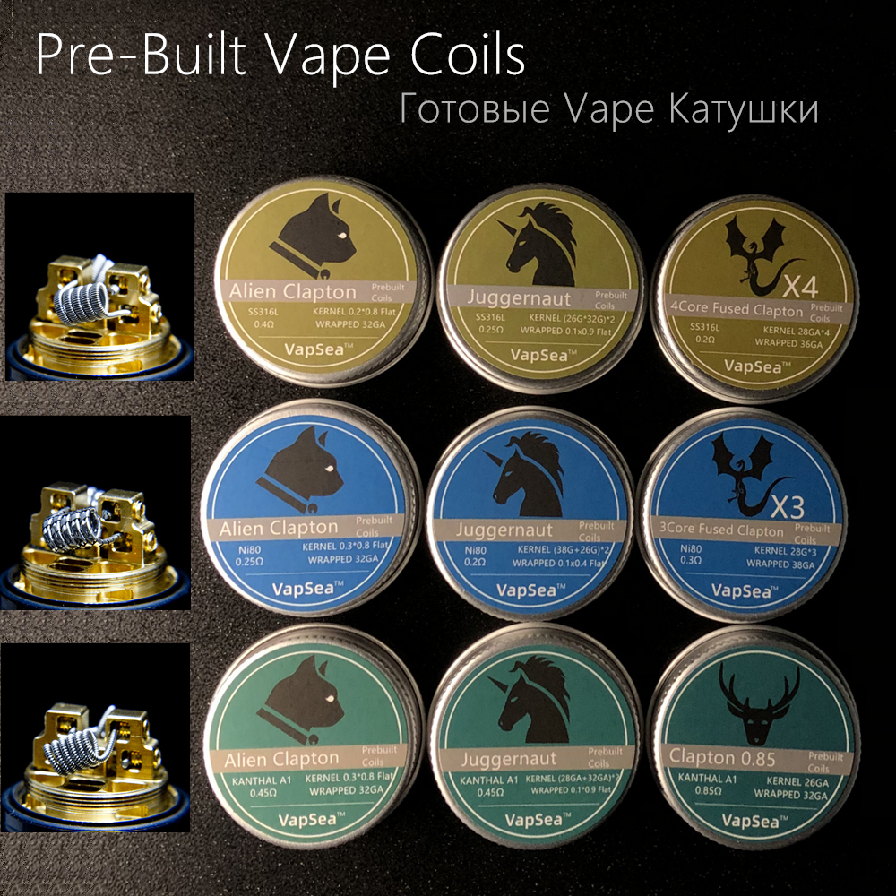 Pre-Built Vape Coil Fused Clapton Coils Alien Clapton Premade Coil Vape A1 SS316L NI80 For RDA RTA Atomizer Mod Heating Wire