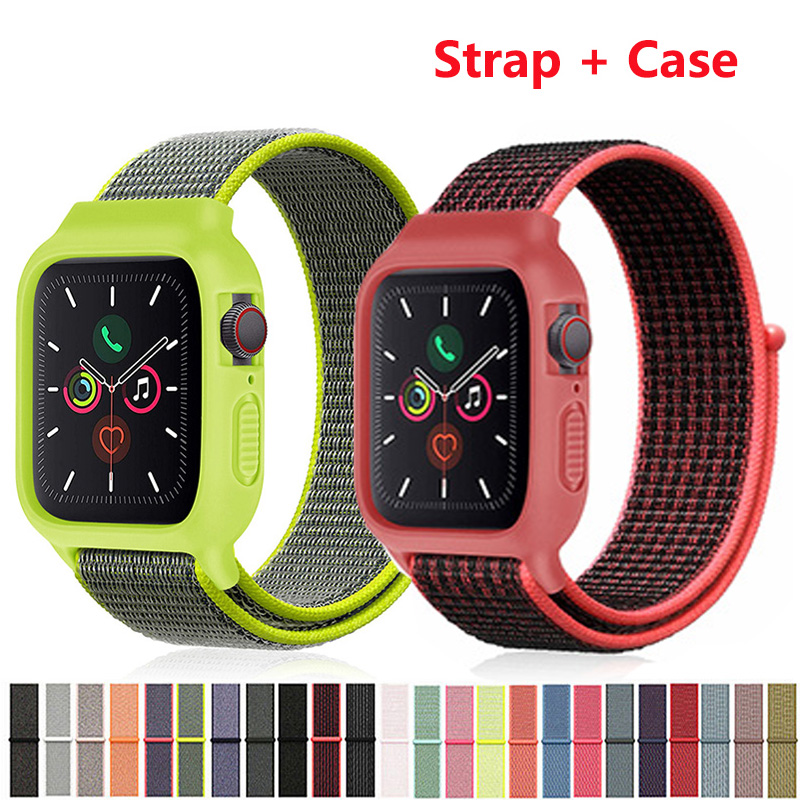 Nylon Sport Strap Protective Case Watchband For Apple Watch 4 5 40mm 44mm 38mm 42mm Loop Bracelet Band For IWatch Series 1 2 3