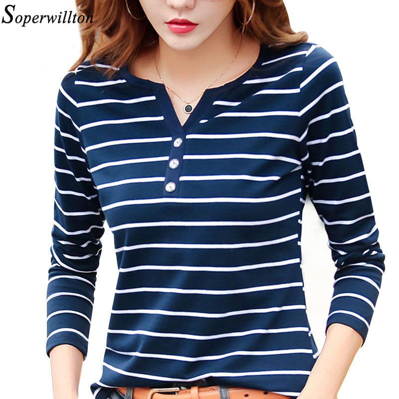 Women T Shirt Cotton Short Long Sleeve Lady T Shirt Striped Summer Spring Autumn Female Blusa White Plus Size Fashion Top Tee T0