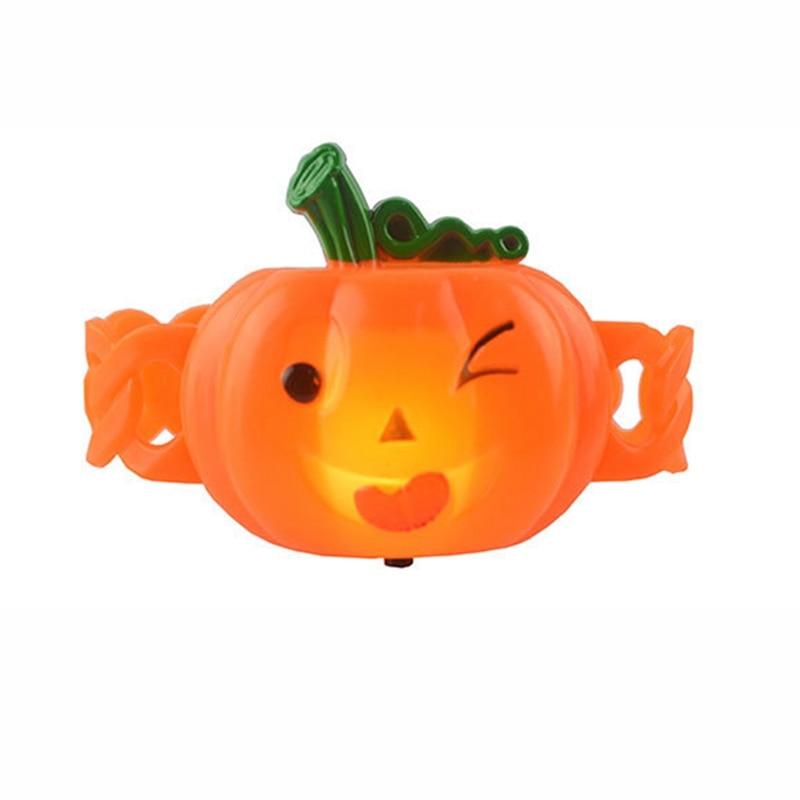 Shiny Pumpkin Bracelet Pat Ring Kids Luminous ToysCartoon Wristband Halloween Decor Funny