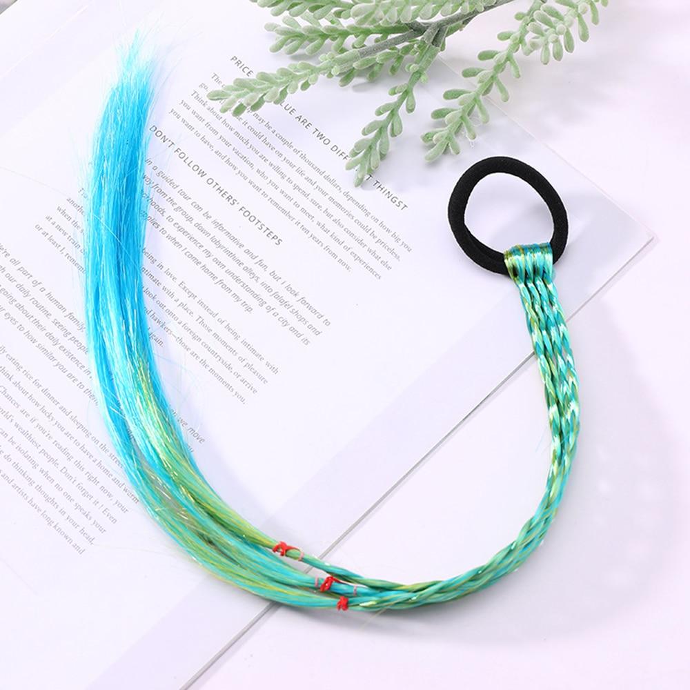 Simple Kid Elastic Hair Band Rubber Band Hair Accessories Kids Wig Headband Girls Twist Braid Rope Headdress Child Gift Band - Цвет: 17
