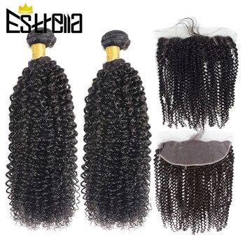 Mèches brésiliennes naturelles Remy avec Frontal | Cheveux frisés bouclés, 13x4, dune oreille à lautre, Lace Frontal Closure, lots de 2