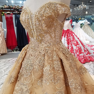 Image 5 - LS65740 flores douradas vestido bonito transporte rápido da china fora do ombro querida lace up de volta a linha barato vestido de noite