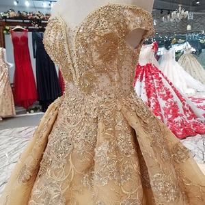Image 5 - Ls65740 황금 꽃 아름 다운 드레스 중국에서 빠른 배송 어깨 아가씨 레이스 위로 a 라인 저렴 한 이브닝 드레스