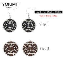 Cremo Round Pendant Interchangeable Leather Drop Earrings Women Leather Earrings Drop Hanging Dangle Earrings Jewelry цена в Москве и Питере