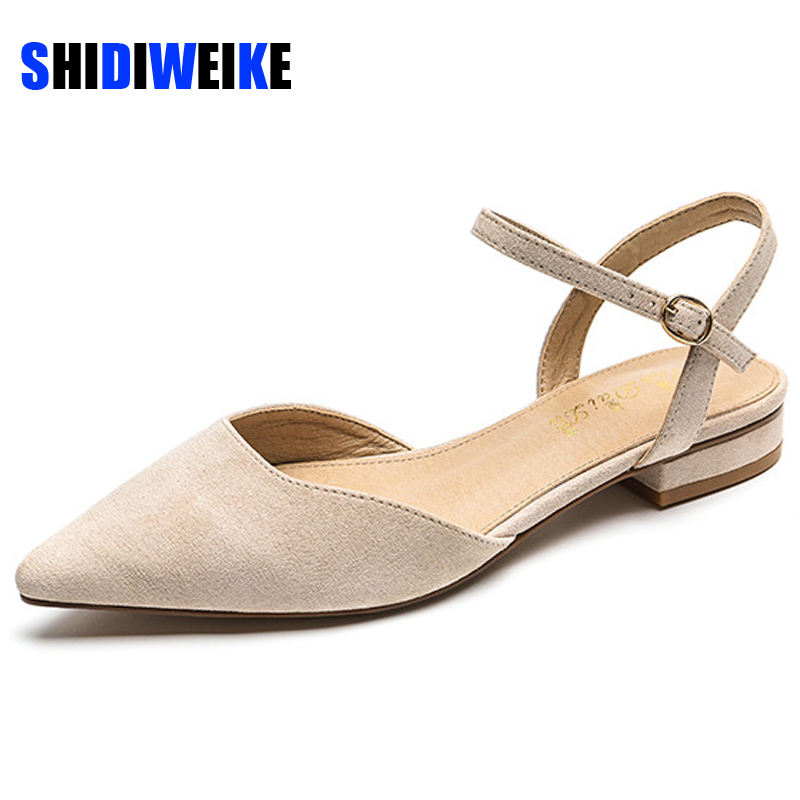 Women Flats Shoes Faux Suede Sexy Pointed Toe Slingbacks Flats Office Ladies Walking Shoes AB390