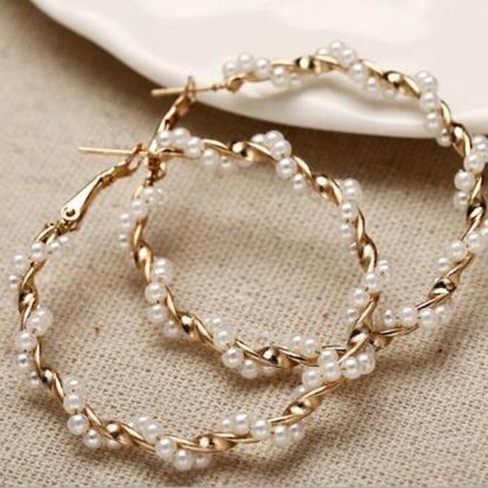 Oversize Pearl Hoop Earrings 1