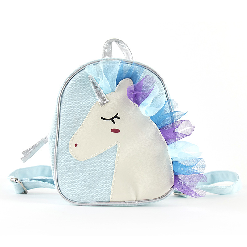 Little Girls Unicorn Canvas Backpack Children Lace Blue Schoolbag Kids Cartoon Shoulders Bag Child Storage Bag Traval backpack