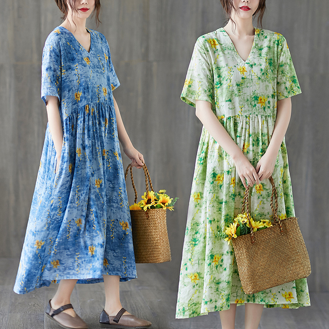 Uego Short Sleeve Loose Summer Dress Soft Cotton Linen Print Floral tender Ladies Dress Plus Size Women Holiday Casual Dress 2
