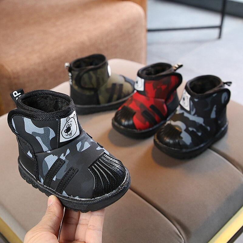 Anne ve Çocuk'ten Botlar'de Çocuk botları kış yeni çocuk kar botları tendon yumuşak alt sıcak bebek pamuklu ayakkabılar artı kadife kalın bebek bebek ayakkabısı title=
