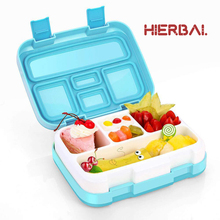 Fashion Portable Eco-Friendly PP Lunch Box Waterproof Microwave Bento Food container with 4/5 Compartments Grids