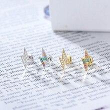 Silvology 925 серебро красочный Циркон серьги молнии 4A Циркон Роскошные серьги гвоздики для женщин новые модные ювелирные изделия