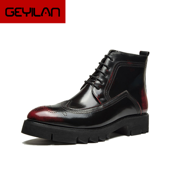 Cowboy Boots Brogue Shoes Mens Office Shoes Leather Boots Men Designer Shoes Mens Dress Boots Italian Brand Chaussure Homme Buty