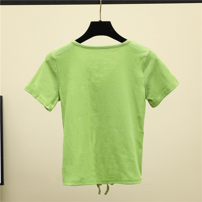 Zuolunouba 2020 Summer Avocado Green Short Sleeve Women T-shirt Skinny V-neck Drawstring High Waist Open Navel Short Tees Tops Women Women's Clothings cb5feb1b7314637725a2e7: xmtx031401|xmtx031402|xmtx031403