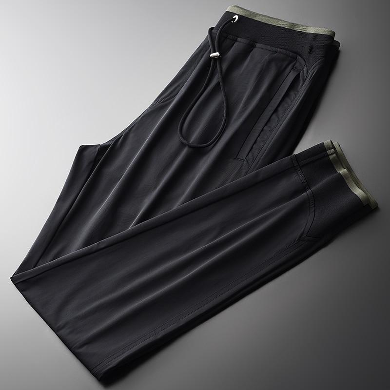 Summer Men Pants Luxury Soft Silky Fabric Casual Sport Man Pants Plus Size 4xl Hight Quality Ventilate Slim Fit Man Pants