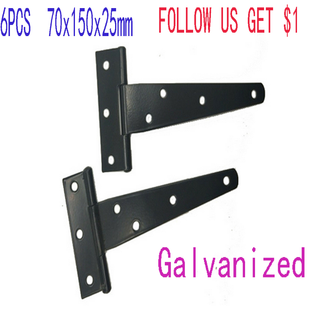 6PCS 70x150x25mm Tee Hinge Decorative Heavy Duty Galvanized Strap T Hinges Door Gate Shed